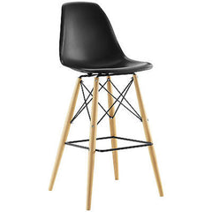 Mid-Century Modern Style Molded Plastic Dowel-Leg Bar Chair, Black