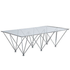 Glass Wire-Leg Mid-Century Modern Style Coffee Table
