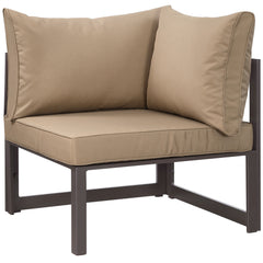 Fortuna Corner Outdoor Patio Armchair in Brown Mocha