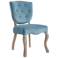 Array Vintage French Velvet Dining Side Chair in Sea and Blue