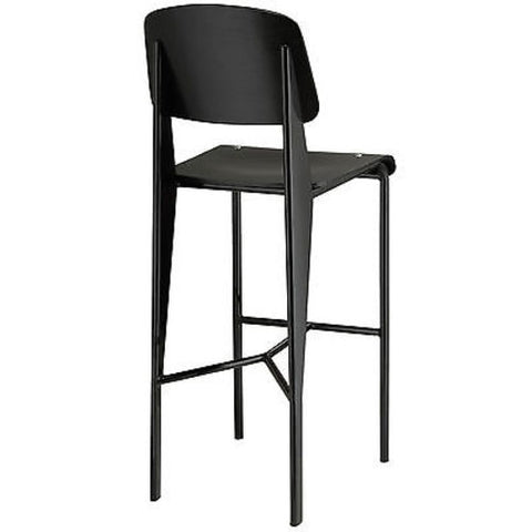 Jean Prouve Style Standard Bar Stool in Black Black