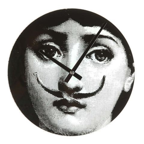 Midcentury Style Girl Moustache Clock in Black and White