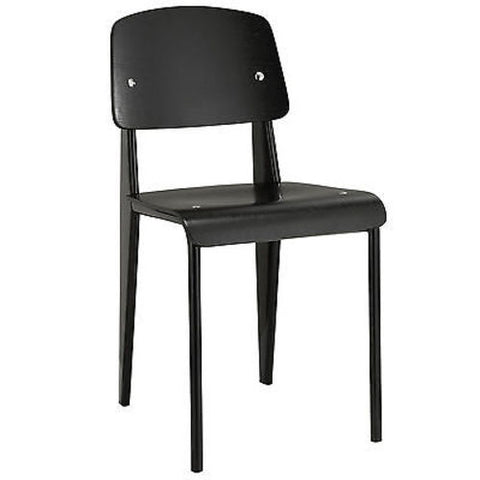 Prouve Style Standard Dining Side Chair in Black Black
