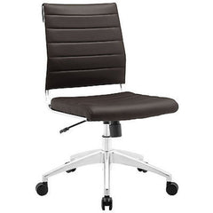 Adjustable Modern Chromed Armless Mid Back Office Chair in Brown - Mid Mod Finds