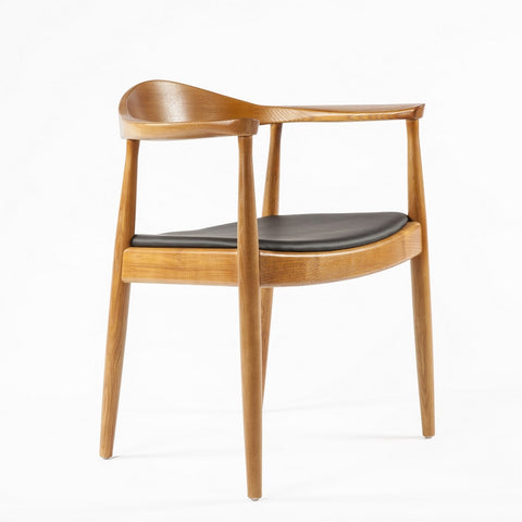 Hans Wegner Style Round Chair in Walnut Finish