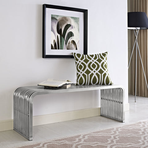Pipe Stainless Steel Bench in Silver