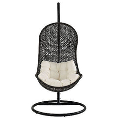 Parlay Swing Outdoor Patio Lounge Chair in Espresso White