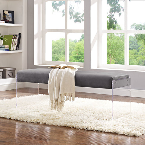 Roam Velvet Bench in Gray