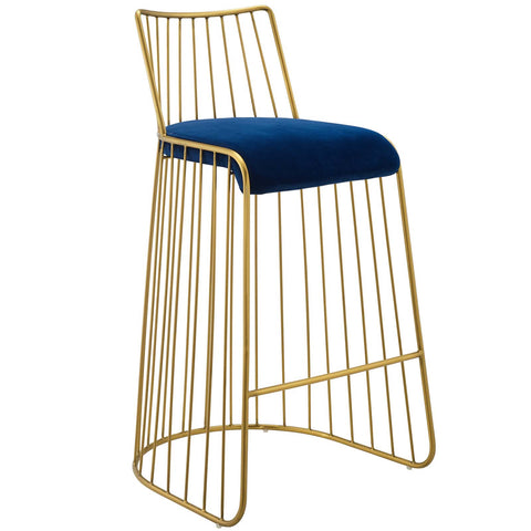 Rivulet Gold Stainless Steel Upholstered Velvet Bar Stool in Gold and Navy