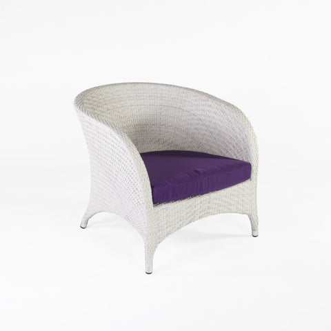 Danica Outdoor Lounge Armchair With Sunbrella Brand Cushion In White/Purple
