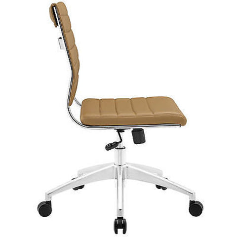 Adjustable Modern Chromed Armless Mid Back Office Chair in Tan