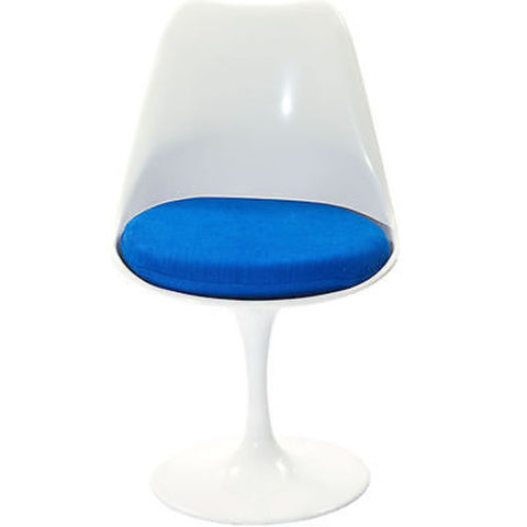 Saarinen Tulip Style Side Chair with Blue Cushion