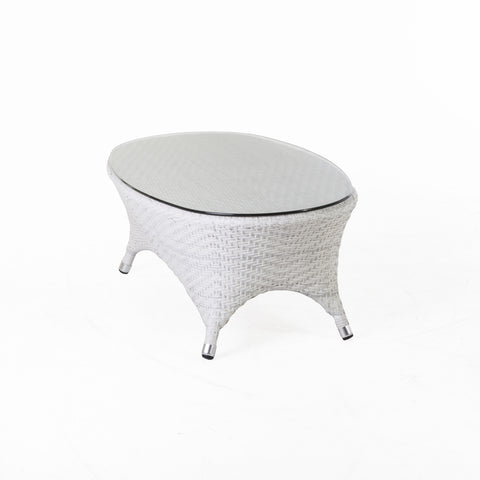 Danica Outdoor Coffee Table With Clear Glass Top In White