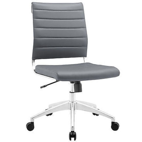 Adjustable Modern Chromed Armless Mid Back Office Chair in Gray - Mid Mod Finds