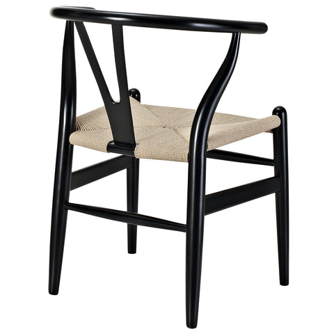 Hans Wegner Wishbone Style Wood Armchair in Black