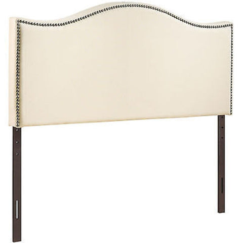 Curl Queen Nailhead Upholstered Headboard in Ivory
