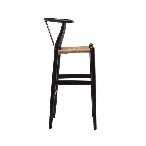 Hans Wegner Style Wishbone Stool In Black