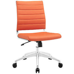 Adjustable Modern Chromed Armless Mid Back Office Chair in Orange