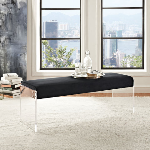 Roam Velvet Bench in Black