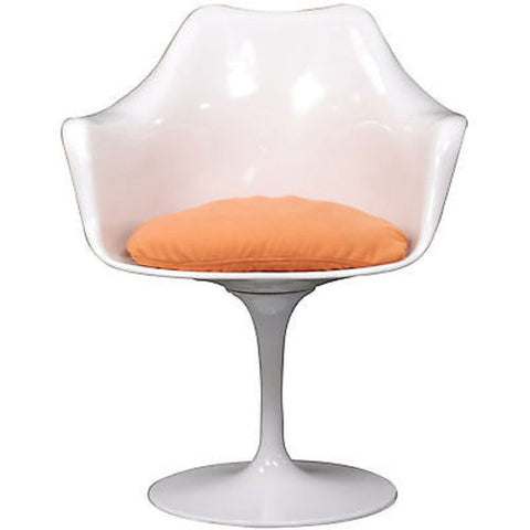 Saarinen Tulip Style Armchair with Orange Cushion