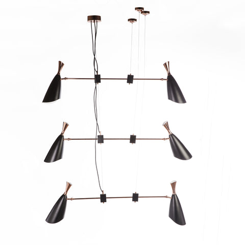 Caoihme Chandelier in Black and Rose Gold