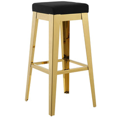 Arrive Gold Stainless Steel Upholstered Velvet Bar Stool in Gold and Black