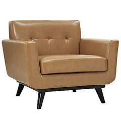 Engage Leather Armchair in Tan - Mid Mod Finds