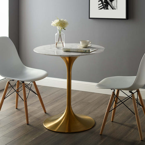 "Lippa 28"" Round Dining Table in Gold and White"