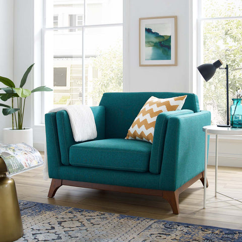 Chance Upholstered Fabric Armchair in Teal