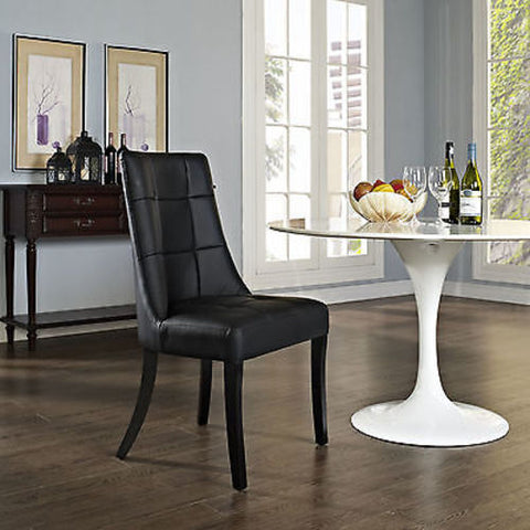 Noblesse Dining Vinyl Side Chair in Black