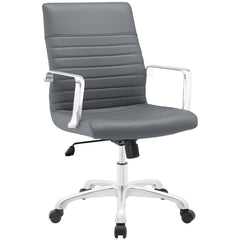 Modern Ribbed Adjustable Mid Back Office Chair in Gray
