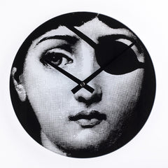 Midcentury Style Girl Hacker Clock in Black and White