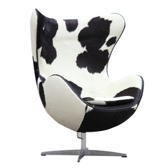 Pony Hide Egg Chair, Black and White - Mid Mod Finds