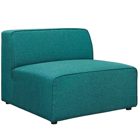 Mingle Fabric Armless Chair in Teal