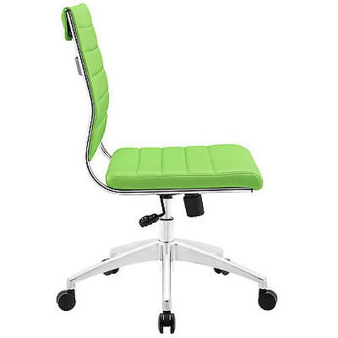 Adjustable Modern Chromed Armless Mid Back Office Chair in Bright Green