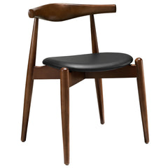 Hans Wegner Round Style Dining Side Chair in Dark Walnut Black