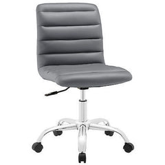 Adjustable Modern Ribbed Mid Back Office Chair in Gray