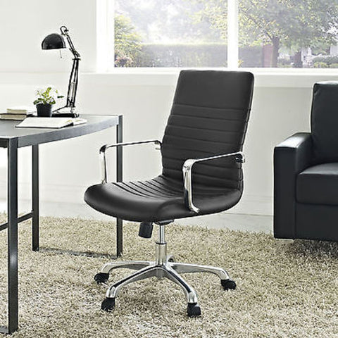 Modern Ribbed Adjustable Mid Back Office Chair in Black