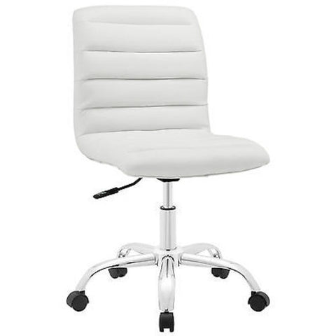 Adjustable Modern Ribbed Mid Back Office Chair in White