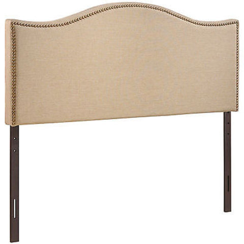 Curl Queen Nailhead Upholstered Headboard in Cafe