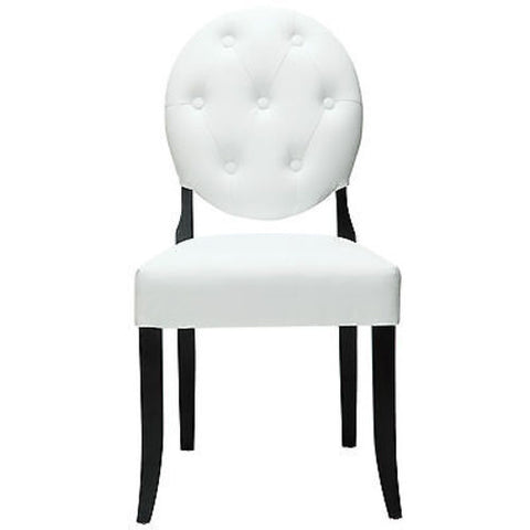 Button Modern Tufted Dining Side Chair in White