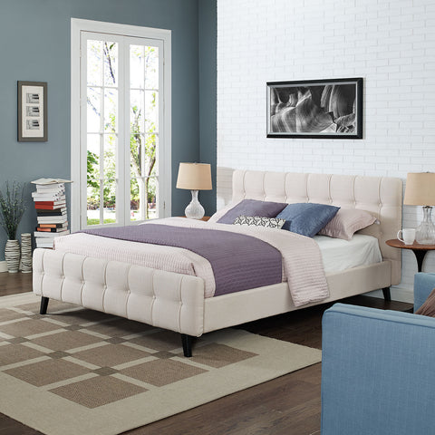 Ophelia Queen Fabric Bed in Beige