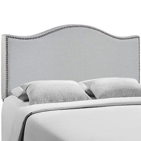 Curl Queen Nailhead Upholstered Headboard in Gray
