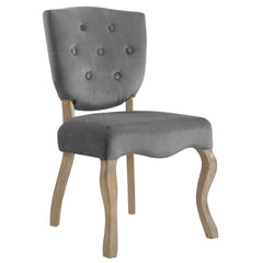 Array Vintage French Velvet Dining Side Chair in Gray