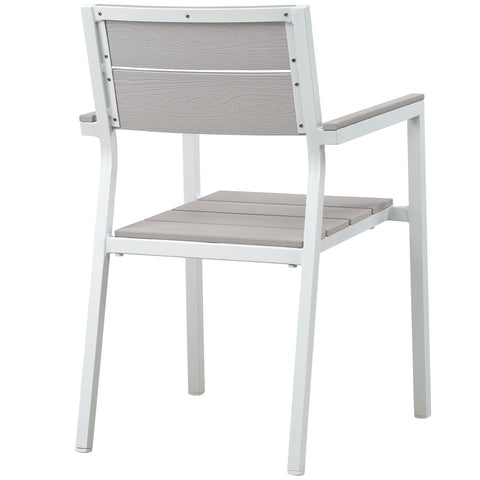Maine Dining Outdoor Patio Armchair in White Light Gray
