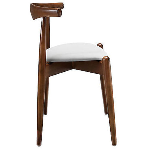 Hans Wegner Round Style Dining Side Chair in Dark Walnut White
