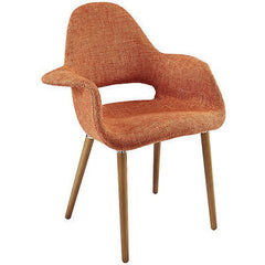 Midcentury Modern Style Organic Dining Armchair in Orange