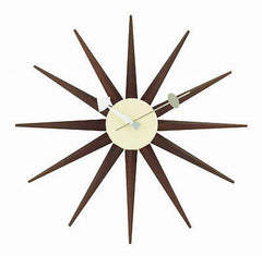 George Nelson Midcentury Modern Style Angled Sunburst Clock Wood - Mid Mod Finds
