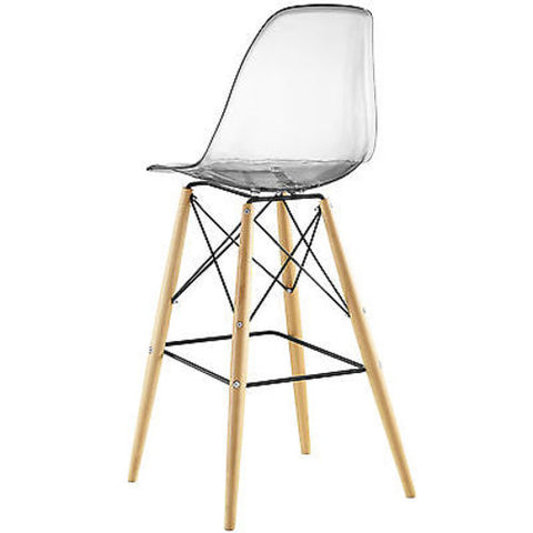 Mid-Century Modern Style Molded Plastic Dowel-Leg Bar Chair, Clear