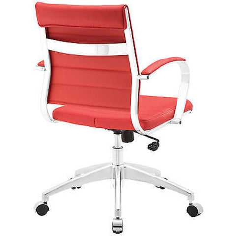 Adjustable Modern Chromed Mid Back Office Chair in Red